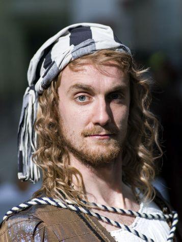 Levin Klocker, 2016, im maßgefertigten Dürer-Kostüm. Für den Bart sorgte er selbst und ließ ihn einige Wochen wachsen.